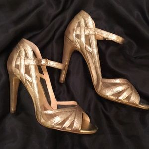 Gold Isola Leather High Heels